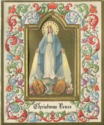 Vintage Christmas Virgin Mary Our Lady Of Miraculous Medals Art Greeting Card