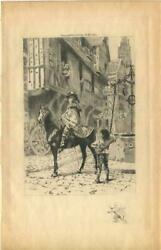 Antique Medieval Ages Equestrian Costume Horse Village Water Well Lion Print