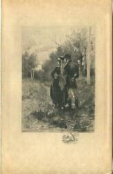 Antique Victorian Woods Forest Trees Equestrian Costume Riders Romance Art Print