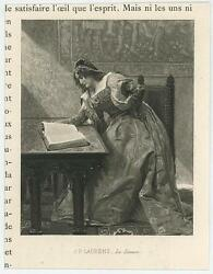 Antique Medieval Woman Costume Reading By Sunlight Beams Miniature Small Print