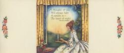 Vintage Victorian Girl Candle Light 1 Sewing Buttons Pink Roses Wreath Art Card