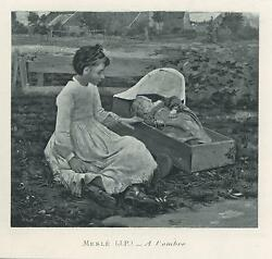 Antique Pretty Girl Sister Baby Infant Wood Cradle Farm Wildflowers Small Print