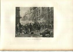 Antique Sorrows Of Was Mourning War July 1830 Soldiers Flag Smoke G. Cain Print