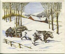 Vintage Christmas Oxen Yule Logs Keen With Frost Snow House Winter Greeting Card