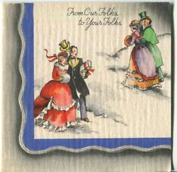 Vintage Christmas Victorian Girl Fur Stole Muff Men Green Suit Art Greeting Card