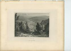 Antique Spa Belgium Walloon Region Man Horse Valley Rolling Hills Town Old Print
