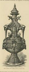 Antique Grotesque Ornamental Nude Winged Sphinx Perfume Bottle Paper Art Print