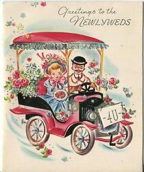Vintage Victorian Pretty Girl Man Garden Flowers Ford Automobile Greeting Card
