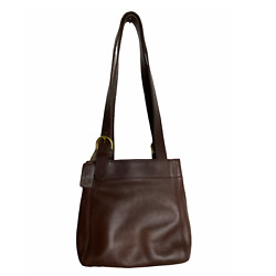 Vintage Brown Leather Coach Bucket Bag Square Gold Satchel Purse Medium Small $65.00