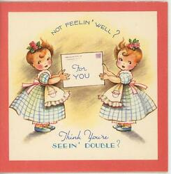 Vintage Twin Cute Children Girl Double Vision Cheer Greeting Card Litho Print