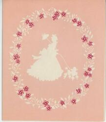 Vintage Pink Victorian Girl Parasol Poodle White Silhouette Flowers Card Print