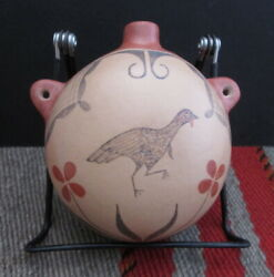 Very Rare Antique Zia Pueblo Pottery Canteen W/ Turkey From John C Hill Gallery