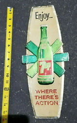 Vintage 7up Enjoy Where Theres Action Metal Foil Sign 1940s