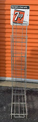 Rare 1950s 7up Sign Wire Rack Display Spring Loaded Mechanical Shelf