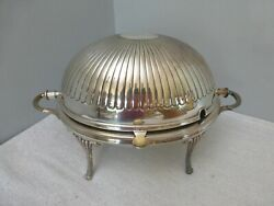 Vintage Antique Barker Bros Birmingham Ribbed Silver Plate Chafing Roll Top Dish