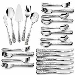 Hammered 65-piece Silverware Set For 12 Haware Stainless Steel Flatware Cutle...