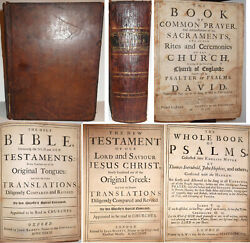1733 Complete Antique Large Leather King James Holy Bible Old New Testament 1611