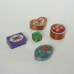 Group Of 5 Cloisonne Enamel And Metal Pill/trinket Boxes