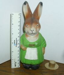 Antique 7-1/2 German Compo Mache Lg Rabbit Bunny Candy Container Easter