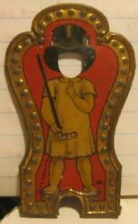 Old Signed Tin Lithograph Toy Part - Child In Dress Ringmaster W/ Cut Out Face