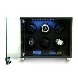 Brand New Carbon Fiber Finish Glass Door Faux Leather Watch Winder