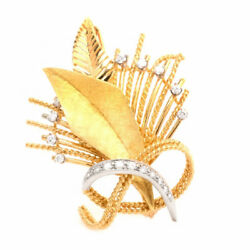 Estate 18k Yellow Gold Leaf And Rope 1/2 Carat Diamond Floral Spray Brooch Pin