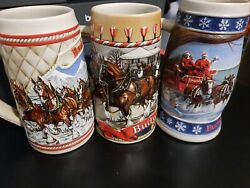 Budweiser Beer Stein Set Of 3 Clydesdale A, B Series And Lighting The Way...