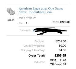 American Eagle 2021-w Type-1 One Ounce Silver Proof Coin W/ Coa 21ea In Hand