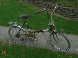 Rare Bicycle Vintage Sears Foldable Tote Bike Solid But Needs Tires.