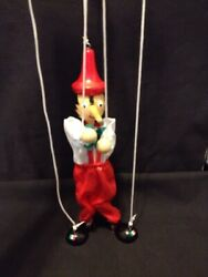 Vintage Pinocchio Wooden Marionette Puppet 13 Made In Italy