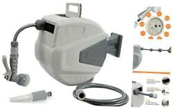 Retractable Garden Hose Reel,3/8 In X 66 Ft Wall Mounted Hose Reel, With Grey