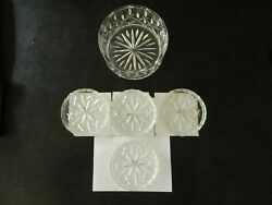 Gorham Crystal Lady Anne Wine Bottle Coaster And 4 Matching Drink Coasters Ex Cond