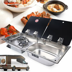 New Boat Rv Caravan Burner Lpg Gas Stove Hob And Sink Comb With Glass Lid Faucet