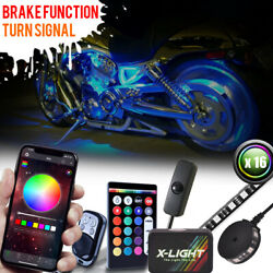 16pc Honda Motorcycle Remote Neon Led Accent Underglow Kit W Brake Light Feature