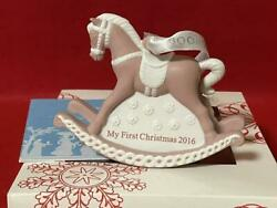 Wedgwood Holiday Ornament 2016 My First Christmas Rocking Horse Pink