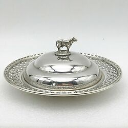 Antique Silver Plate Liberty And Co Butter Cheese Dish Cow Figural Finial