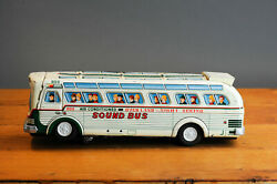 Antique Tin Toy Masudaya Japan Airconditioned Sound Bus Touring Car Lithograph
