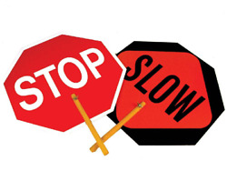 One Double Sided Stop Slow Sign Safe T Paddle Traffic Safety Sign 18quot; x 18quot;