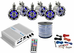Pyle Marine 6-channel Bluetooth Amp + Kit,6x 5.25 Tower Led Speakers,50 Ft Wire