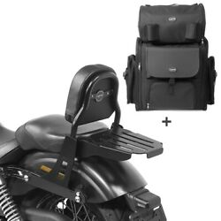 Sissy Bar + Tail Bag For Harley Dyna Street Bob 09-17 With Rack Css