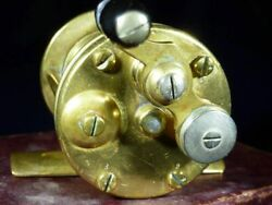 Very Early And Rare Meek And Milam Brass No. 2 Reel Three Numbered Screws