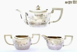 1920and039s Chinese Export Solid Silver Tea Teapot Chrysanthemum Flower Mk 796 Gram