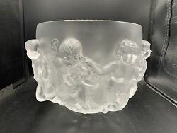 Lalique Luxembourg Cherubs Frosted French Large Crystal Bowl Vase Excellent