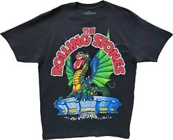 Menand039s The Rolling Stones Black Vintage Dragon Venue Retro Band T-shirt Tee New