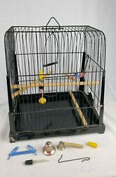 Rare Antique Genykage Bird Cage With Accessories Vintage Wooden Rails, Toys, Etc