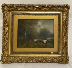 Antique Painting 19th C. Oil On Canvas Landscape W/ Cows Signed .