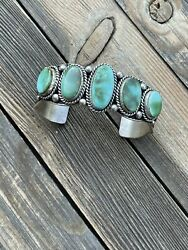 Incredible Royston Turquoise And Sterling Silver Cuff Bracelet Signed