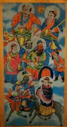 Antique Chinese Painting Large Scroll Of Royalty Beautiful Colorful Detailed