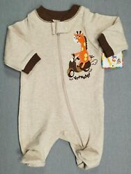 Baby Boy Clothes New Garanimals Preemie Vrroom Giraffe Footed Outfit