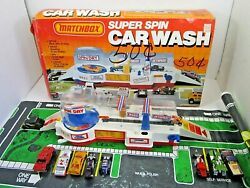 Vintage 1985 Matchbox Super Spin Car Wash Playset In Box 1980's Toy